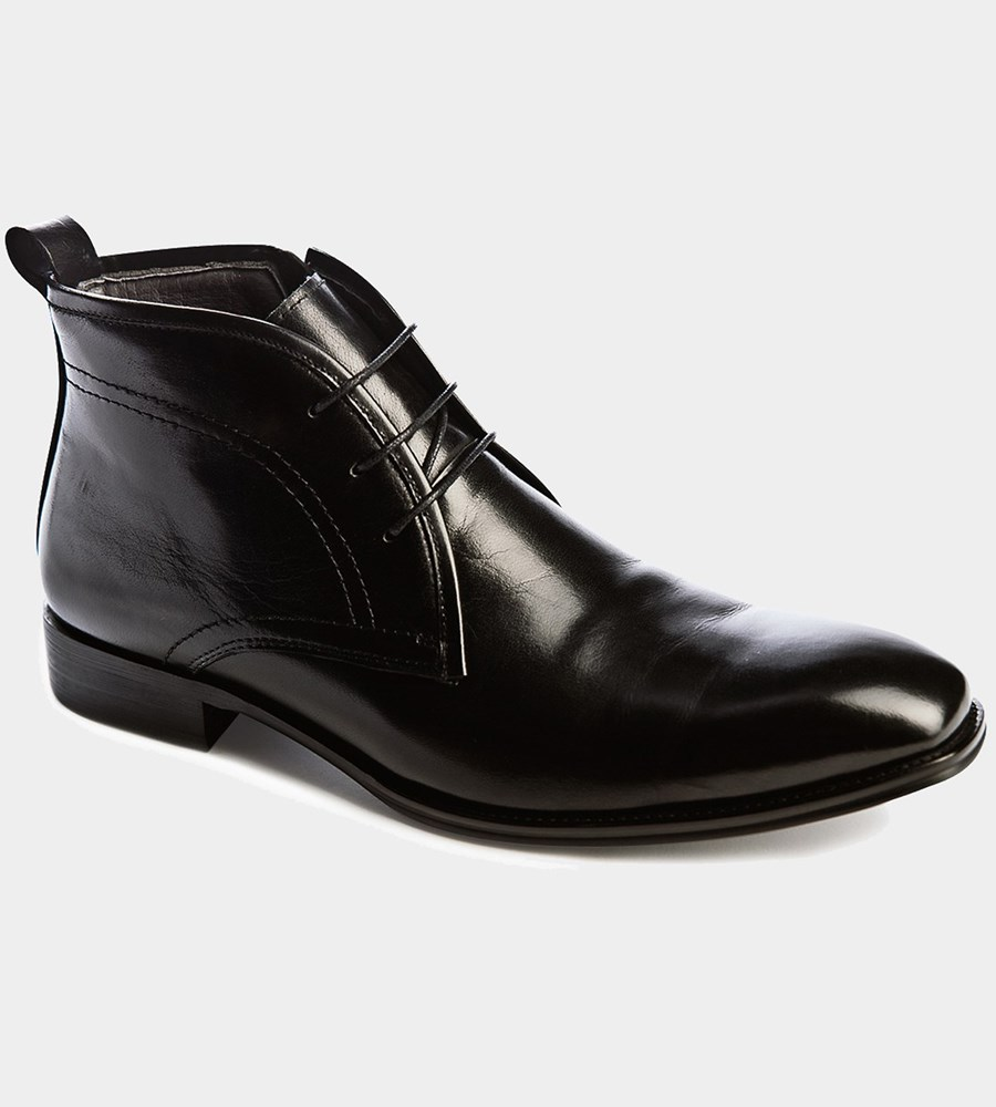 Hudson - exklusiv svarta boots i skinn med dragkedja
