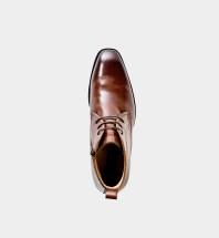 Hudson - exklusiv ljusbrun boots i skinn med dragkedja