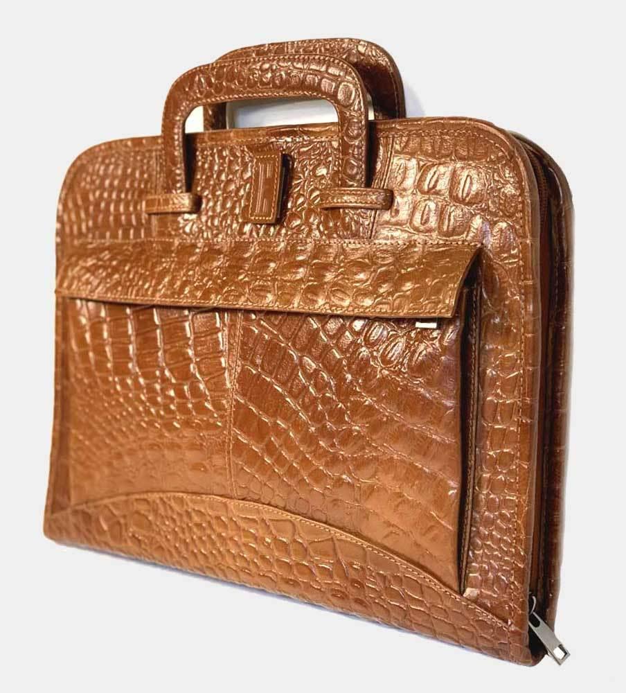 Portfölj/Laptop i alligatormönstrat buffelläder 4-fack - Brun