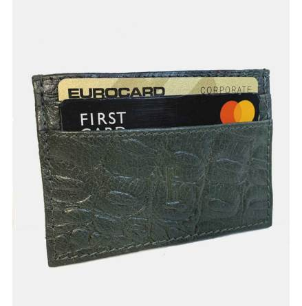 Kreditkortsplånbok  i alligatormönstrat buffelläder 5-fack - Grön