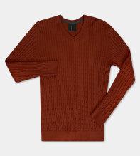 Cricket - kabelstickad V-ringad orange tröja