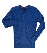 Cricket - kabelstickad V-ringad blå tröja
