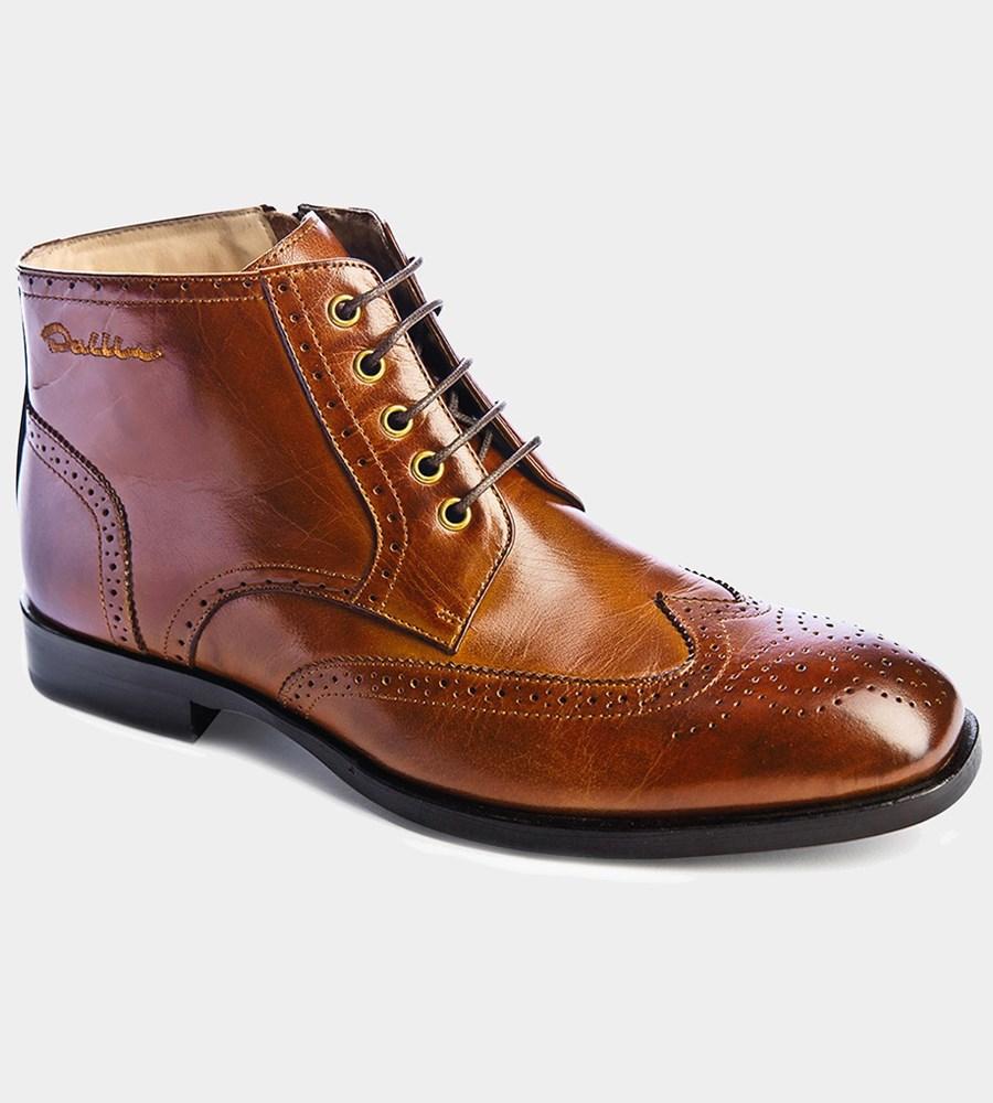 Hardy - bruna brogue boots i skinn med dragkedja