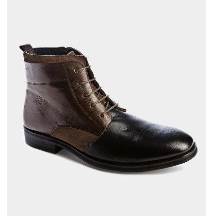 Rocky - designade boots i äkta skinn i brunt / svart