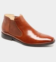 Ribera - ljusbrun boots i buffelskinn med glans
